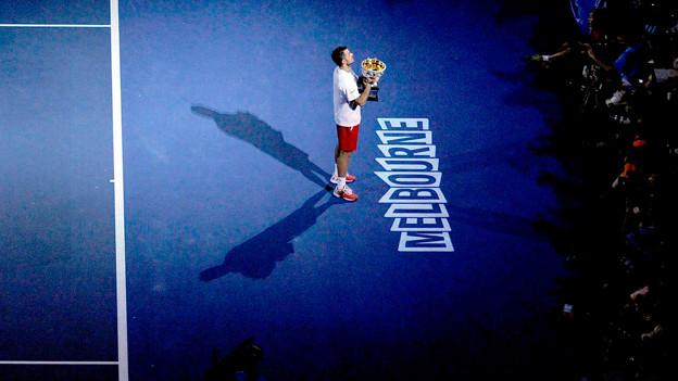 Der erste grosse Sieg: Stanislas Wawrinka feiert seinen Triumph.