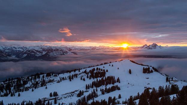 Abendstimmung über dem Rotstock in der Zentralschweiz.