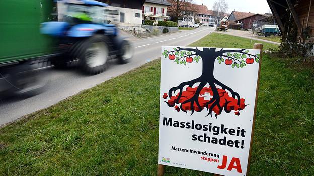 Plakat der Masseneinwanderungsinitiative am Strassenrand.