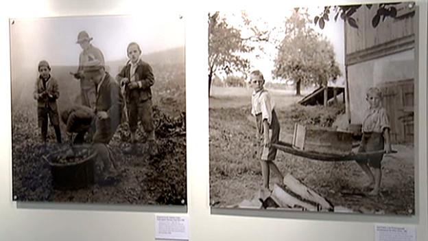 Fotos von Verdingkindern in der ersten nationalen Gedenkstätte Mümliswil.