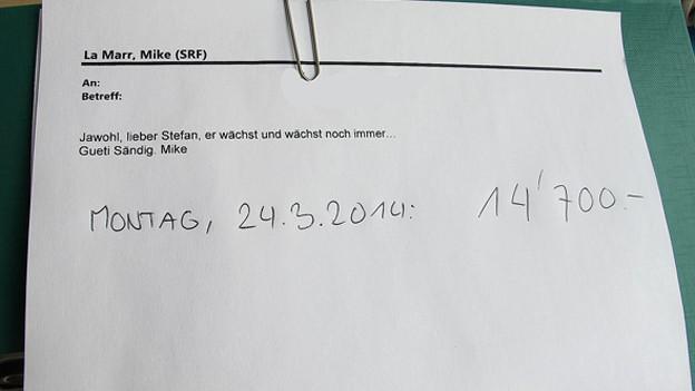 Mail von Mike an Stefan mit 14'700 Franken im Jackpot.