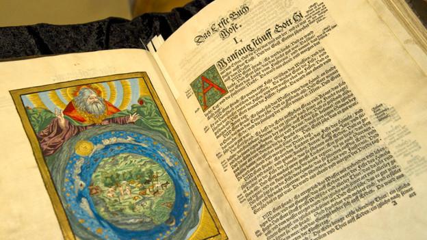 Ein kolorierter Holzschnitt in einem Teil der Prachtausgabe der Cranachbibel