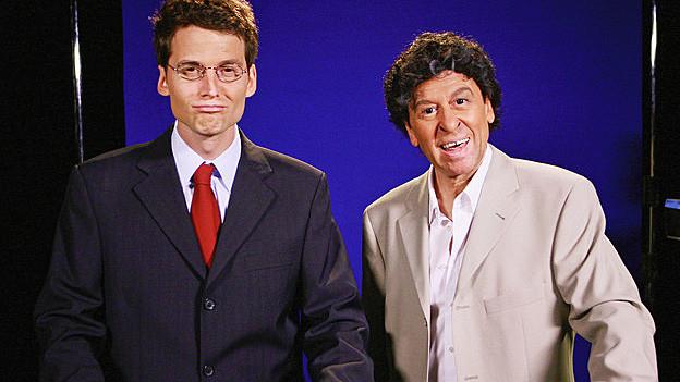 Bekannt aus Giacobbo / Müller: Fabian Unteregger als Roger Köppel und Viktor Giacobbo als Roger Schawinski.