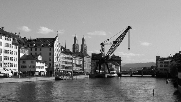 Hafenkran in Zürich (Fotomontage)
