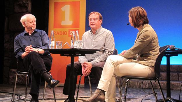 Von links nach rechts: Adolf Muschg und Fredy Knie mit Moderation Katharina Kilchenmann.