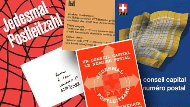 Collage: Post-Werbung für die Postleitzahlen
