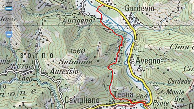Landkarten-Ausschnitt des Tessins.