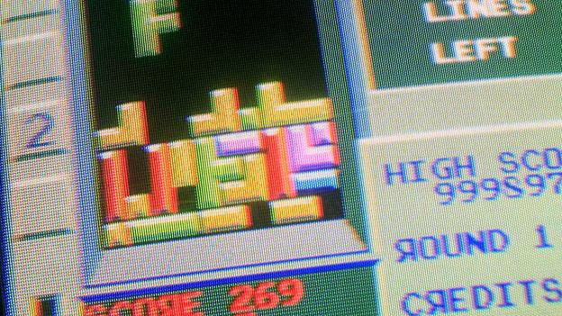 Bildschirm beim Tetris spielen.