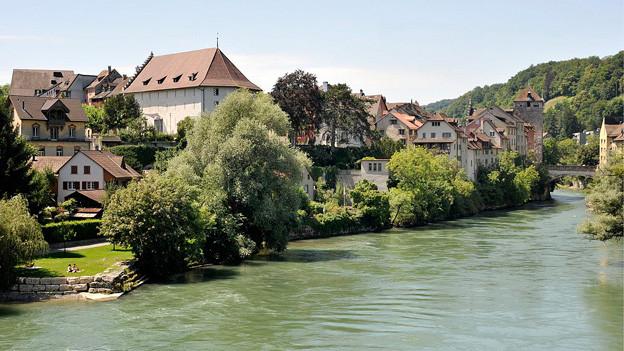 Blick auf die Stadt Brugg und die Aare.
