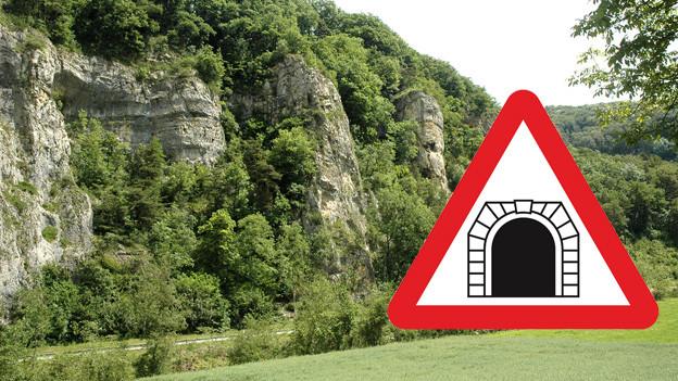 Bildmontage: Felsen im Homburgertal und Tunnelschild.
