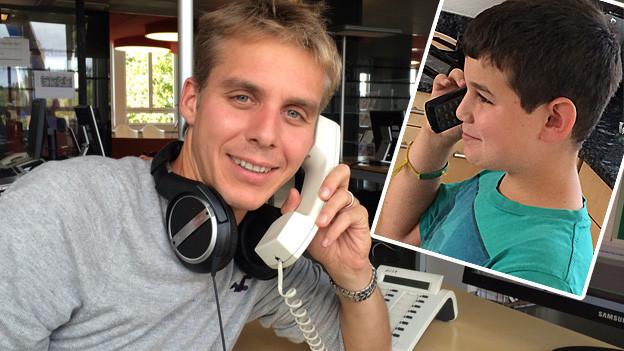 Reto Scherrer am Telefon und Nico Pfau am Telefon.
