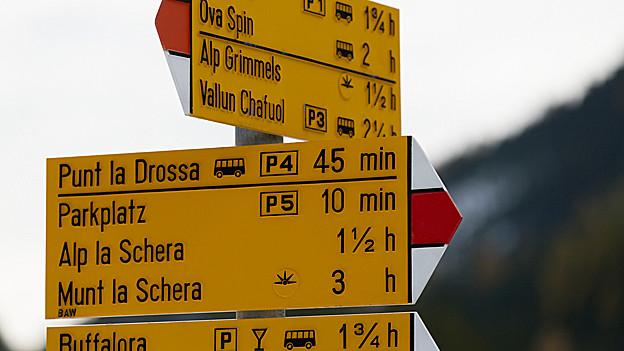 Informationsschild im Nationalpark.