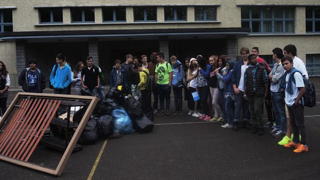 Schulklasse im Zürcher Schulhaus Friedrichstrasse.