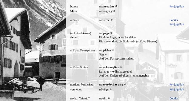 Ein Ausschnitt aus dem Wörterbuch Bergünerromanisch – Deutsch.