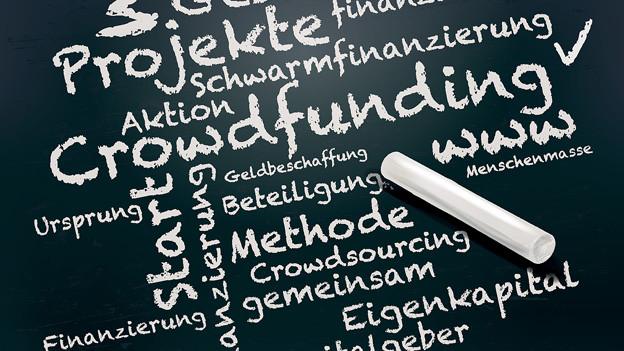 Wandtafel-Symbolbild mit verschiedenen Begriffen, in der Mitte «Crowdfunding».