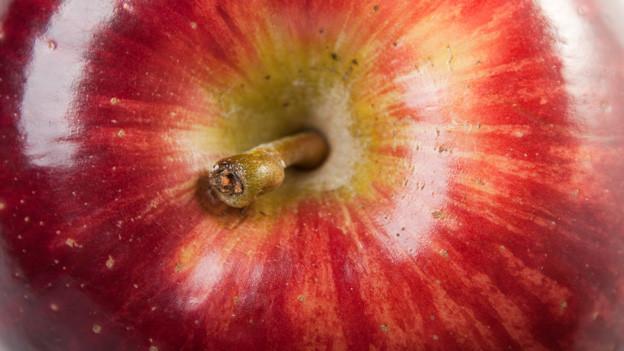 Nahaufnahme von einem roten Apfel.