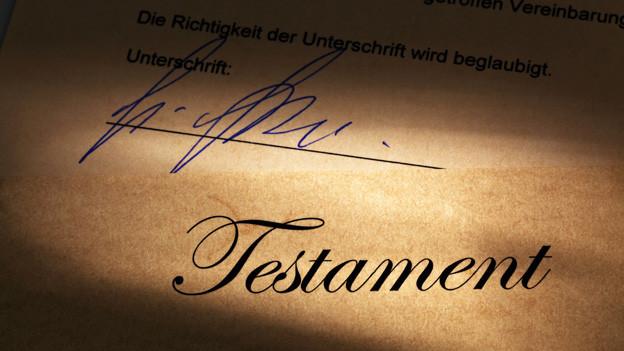 Die Unterschrift in einem Testament.
