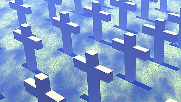 Grafik. Blau eingefärbte Grabsteine.