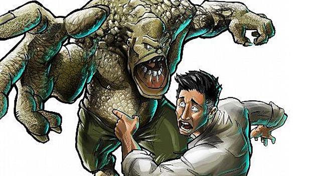 Das Bild aus dem Comic «Il Crestomat» zeigt einen Mann und ein olivgrünes Monster.