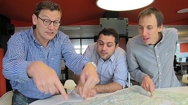 Toni Poltera (l.), Daivde Gagliardi (m.) und Stéphane Gabioud sind sicher, dass jede Sprachregion ihre Schönheiten hat.