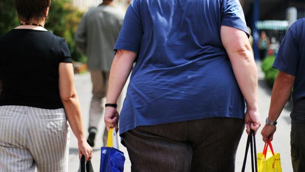 Dicke Frau trägt Einkäufe.