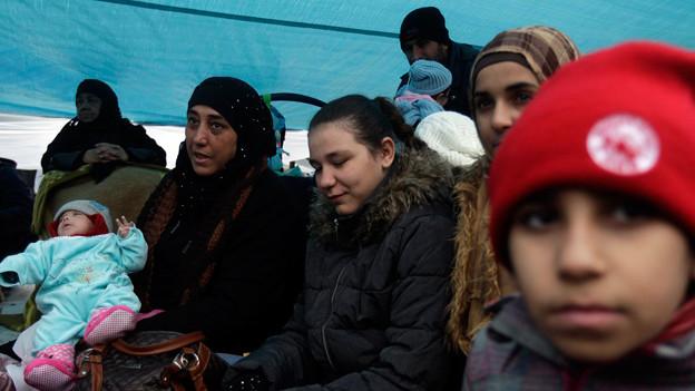 Syrische Flüchtlingsfamilie in Griechenland.