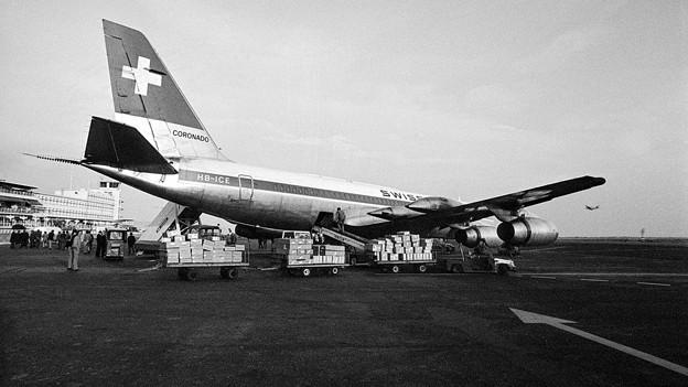 Eine Swissair-Maschine im Jahr 1975.