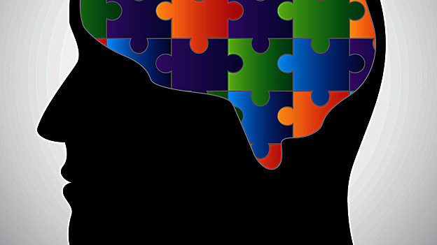Grafik eines Hirns. Als Puzzle dargestellt.