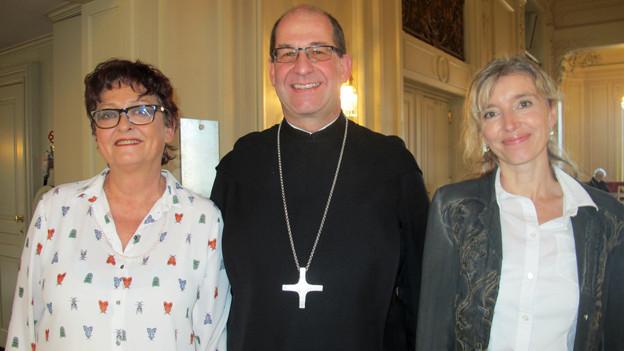 Porträt von Marlise Pfander, Abt Vigeli und Anita Richner.