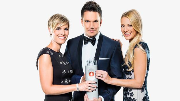 Porträt der drei Moderatoren Mélanie Freymond, Sven Epiney und Christa Rigozzi.