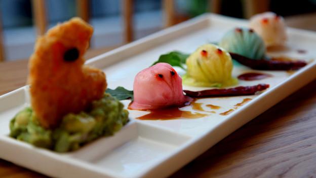 Shrimps-Gericht auf Teller