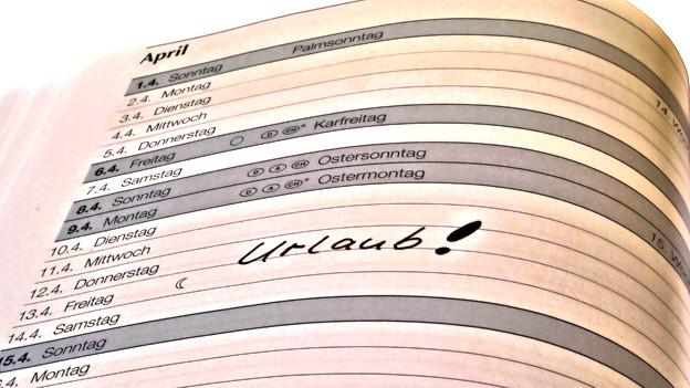 Agenda mit einem Eintrag: Urlaub!