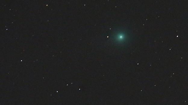 Blick an den Nachthimmel mit dem grünlich leuchtenden Kometen.
