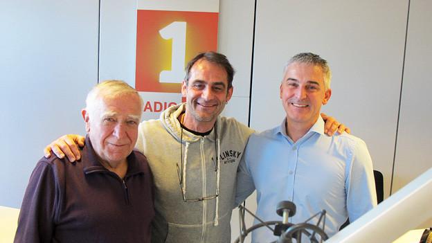 V.l.n.r: Amandus Meichtry, Thomy Scherrer und Adrian Herzog im Radiostudio.