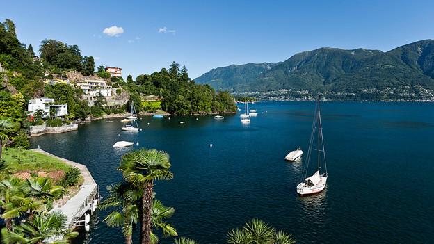 Blick auf Ufer und Lago Maggiore.