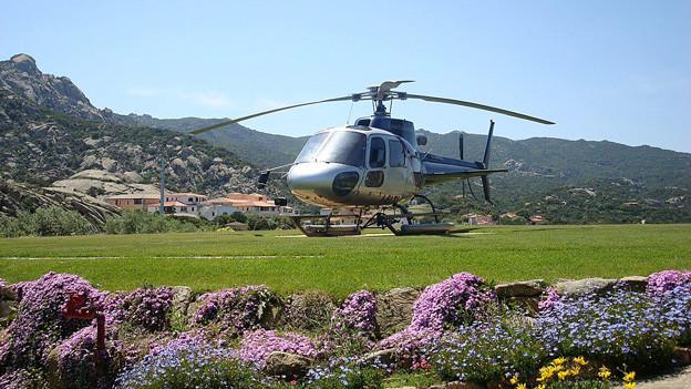 Helikopter auf dem Landeplatz im Garten.
