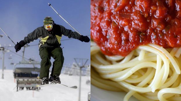 Bildmontage: Skifahrer macht Luftsprung und Spaghetti