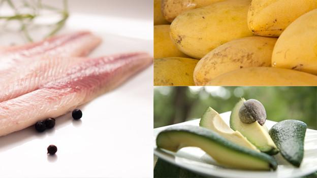 Bildmontage: Geräuchertes Forellenfilet, Avocado und Mango