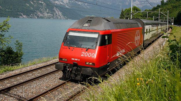 Zug unterwegs am Walensee.
