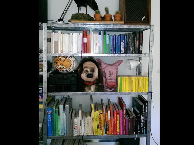Büchergestell in Farben geordnet.