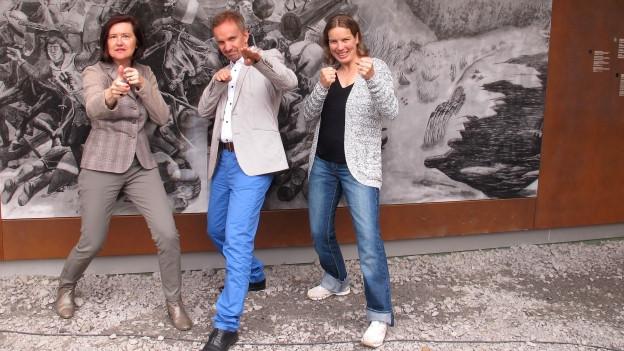Im historis«Persönlich»-Katharina Kilchenmann (links) mit Michael van Orsouw und Nadia Styger.