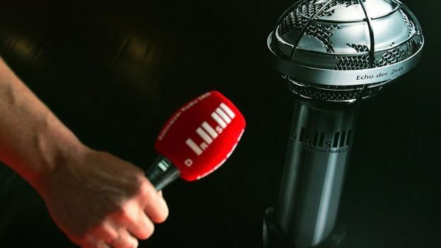 Weltkugel und Mikrofon.