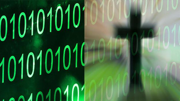 Bildmontage mit dem Binärcode 0 und 1 und ein digital verfremdetes Kreuz.