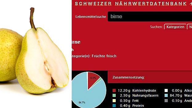 Birne und Screenshot der Nährwertdatenbank.
