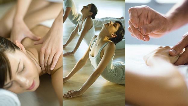 Yoga, Akkupuktur und Massage.