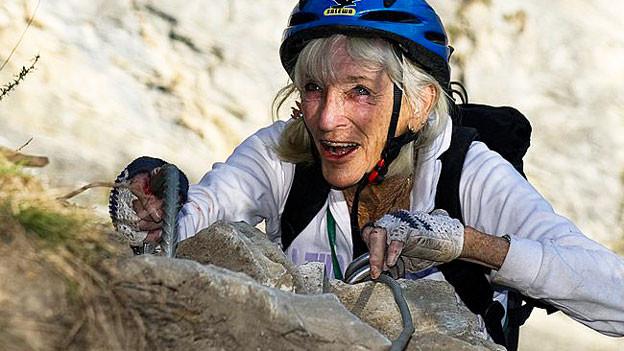 Yvette Vaucher beim Klettern.