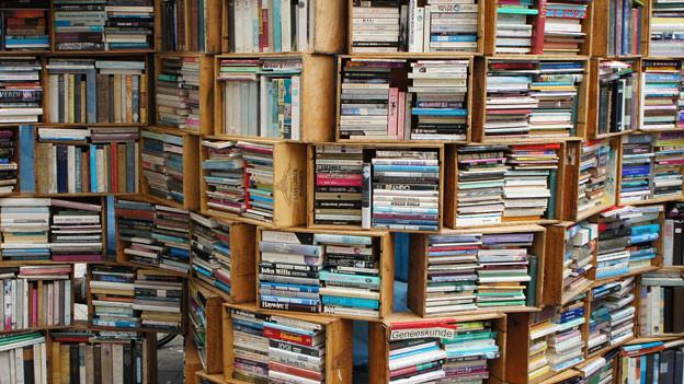 Ein volles Bücherregal aus Holzkisten.