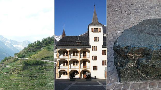 Visperterminen, Burgener-Haus und blauer Stein.