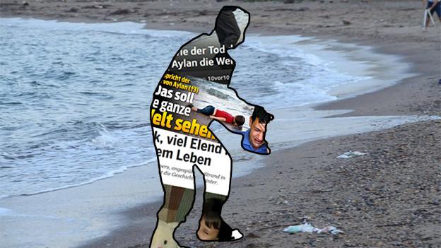 Umrisse des berühmten Bildes des ertrunkenen Aylan, gefüllt mit Nachrichten zum Thema.