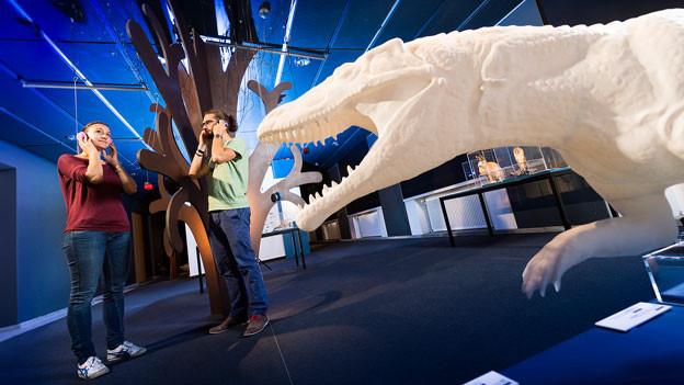 Zwei Leute zu Besuch an der Krokodil-Ausstellung.